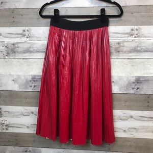 Zara Red Faux Leather Skirt Pleated Size Small